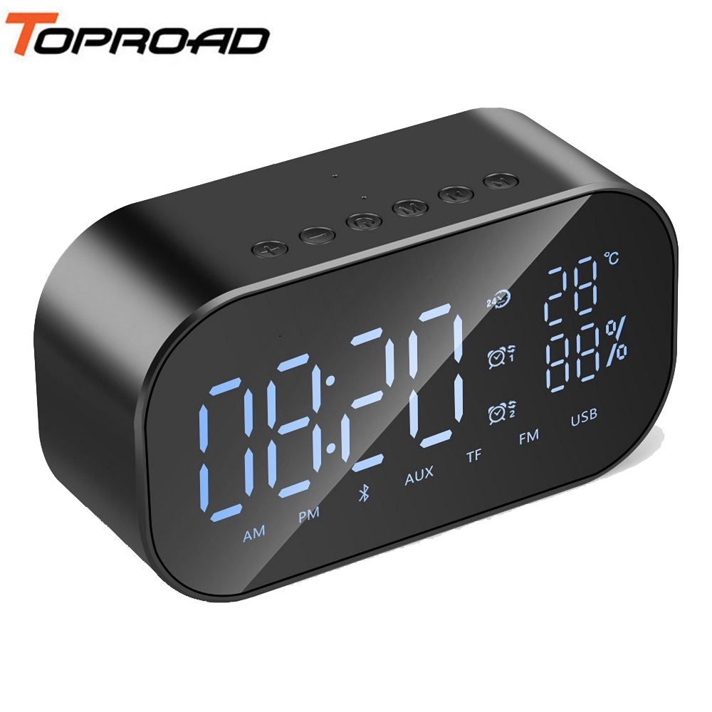 TOPROAD Mini Clock Bluetooth Speaker Portable Wireless Loudspeaker Stereo Speakers Support Time Temperature Display USB FM TF