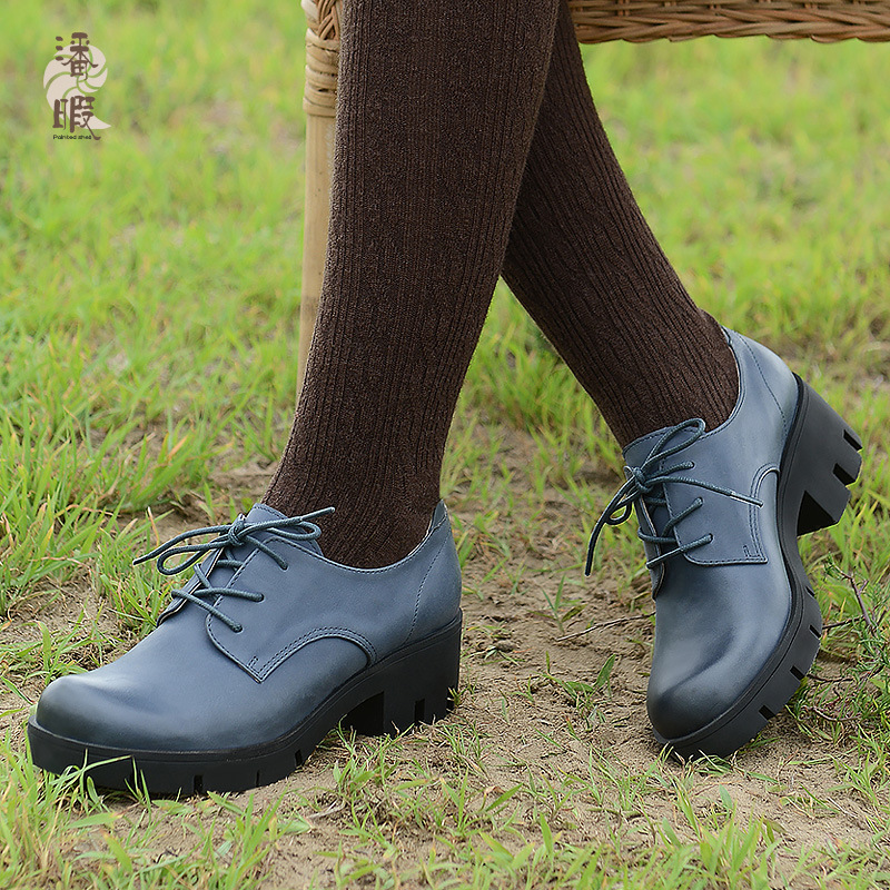 2017 Casual women's shoes with thick bottom round shoes genuine leather shoes big size for women shoes in 41-43