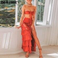 BeAvant Sexy cropped two-pieces summer dress women V-neck layered ruffle tube dress Spaghetti strap split long dress vestidos