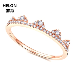 Image 3 - 0.19ct SI/H Natural Diamonds Women Engagement Ring Solid 14k Rose Gold Crown Anniversary Wedding Band Fine Jewelry