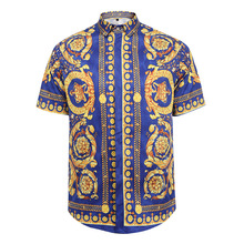 2017 hot African clothing fashion popular logo 3 d creative design of men's shirts/big yards of men's shirts button shirt