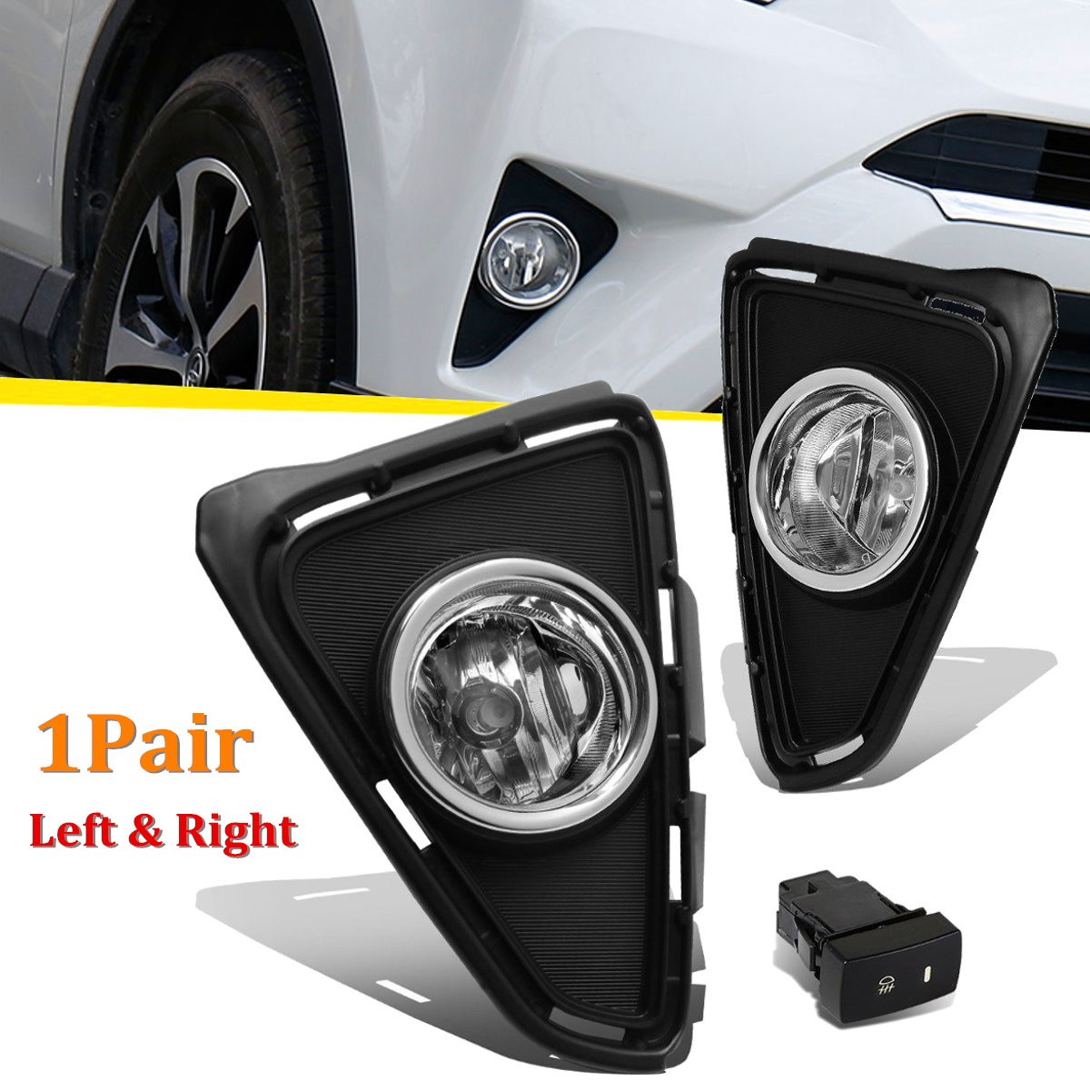 2pcs/pair LH/RH Front Bumper Clear Lens Fog Lights Driving Lamps Pair For Toyota Rav4 2016-2017 1set front chrome housing clear lens driving bumper fog light lamp grille cover switch line kit for 2007 2009 toyota camry
