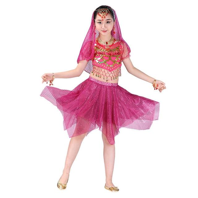 คุณภาพเครื่องประดับอินเดีย Sari สาว Eastern สำหรับเด็กเด็ก Belly Dance Oriental เครื่องแต่งกายเสื้อผ้าชุด Deadpool ยิปซี