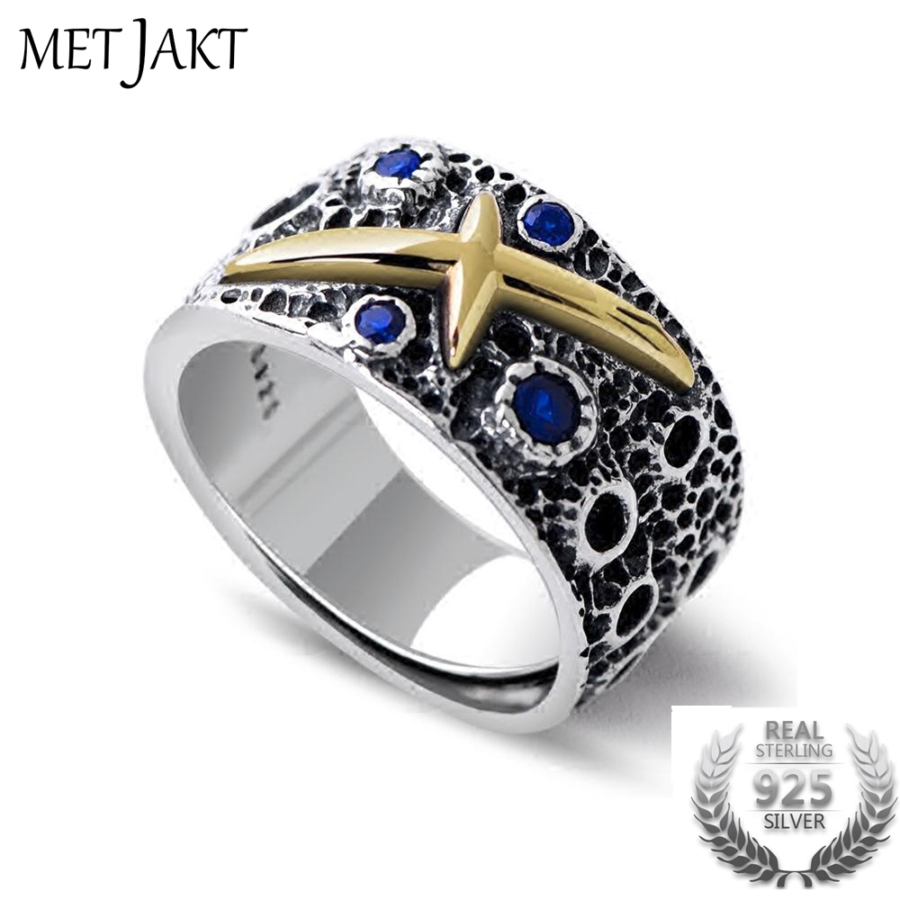 MetJakt Fantasy Starry Sky Sapphire Ring Solid 925 Sterling Open Ring for Cool Unmarried Men s