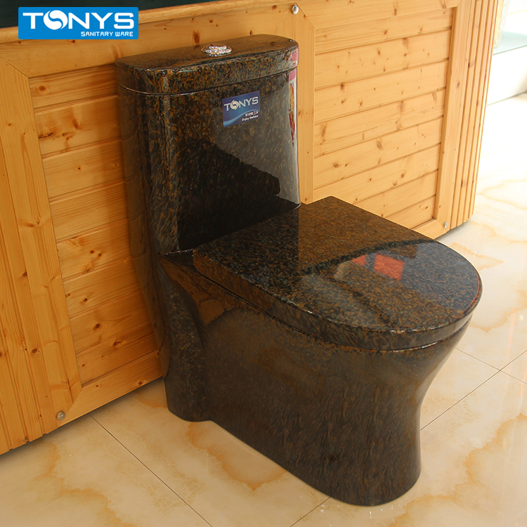 one-piece High temperature ceramic toilets Brown microlite marble grain toilet luxury dual-flush siphon jet wc pan closestool