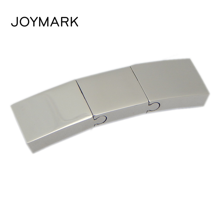 10X3mm Hole Three Parts Built-up Smooth And Matte Surface Bent Rectangle Stainless Steel Slide Lock Magnetic Clasps BXGC-153