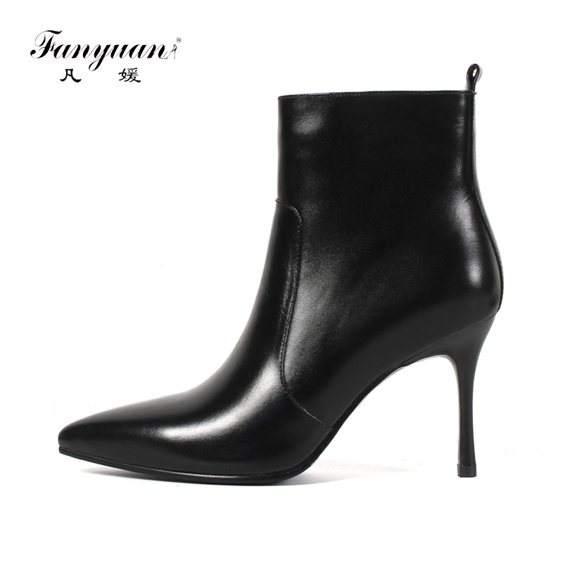 Fanyuan Autumn Solid OL Mature Black Ankle Boots Women Zip Closure Pointed Toe High Heels Shoes Woman Large Size 33-43 enmayer woman spike heels boots string bead solid ladies high heels zip pointed toe shoes large large size 34 46 spring autumn