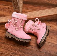ФОТО winter girls boots thickening rabbit fur flowers princess shoes plush child snow boots cattle tendons bottom non-slip baby boots