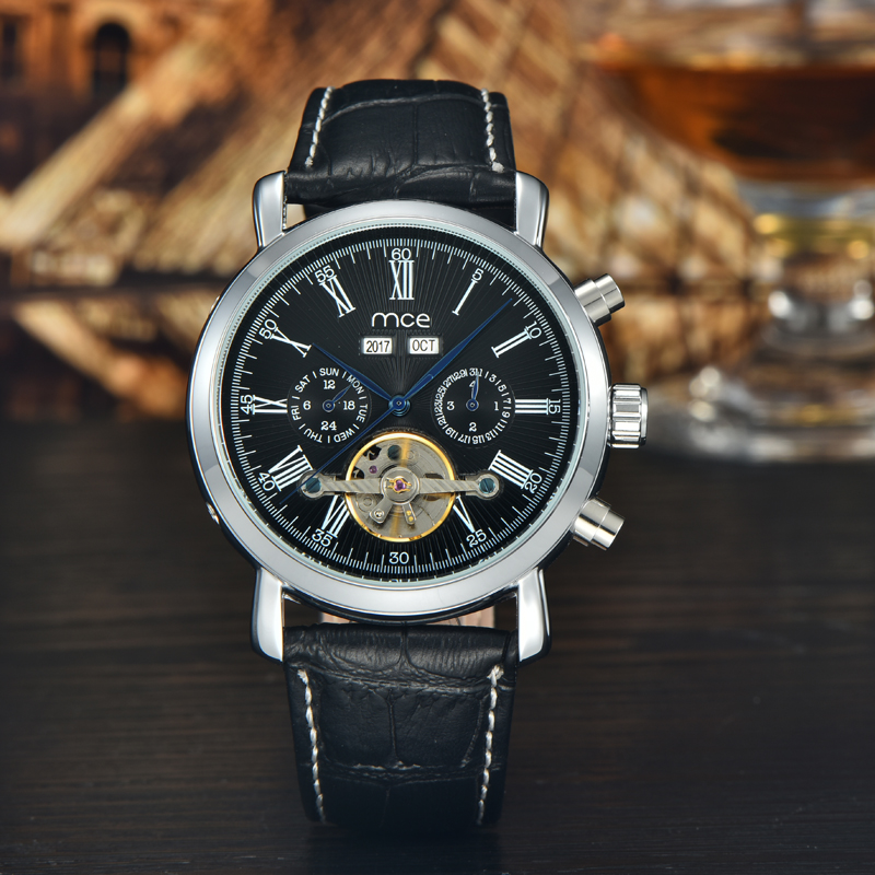 2017MCE hanical Automatic Watches Men Luxury Brand MCE Tourbillon Wrist Watch Stainless Steel Business Leather strap lacywear s 35 tef