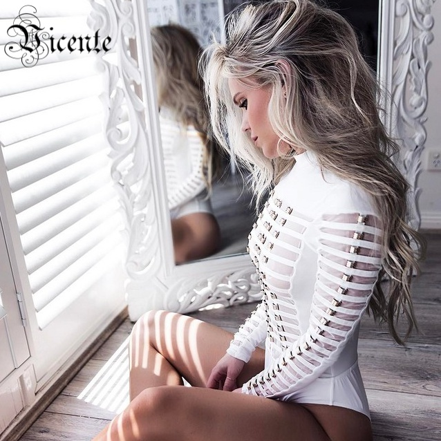 Vicente HOT 2018 New Runway inspired Heavywork Sexy Striped Mesh Metal Embellished Wholesale Women Bandage Bodysuit Bath Suit