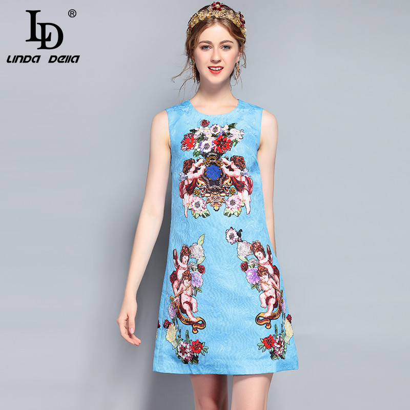 LD LINDA DELLA New Fashion Runway Summer Dress Women s Sleeveless Luxury Beading Blue Angel Floral