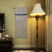 2018 New Handmade Cord Knitting Tapestry Cotton Crochet Wedding Home Bohemian Decoration Curtains 93*45CM
