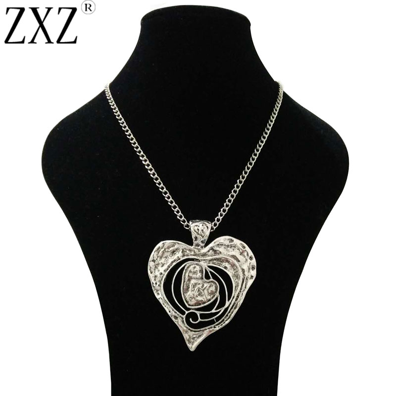 1d52b27cea66 Aliexpress.com   Buy ZXZ Large Antique Silver Abstract Metal Heart Pendant  Long Curb Chain Lagenlook Necklace 34