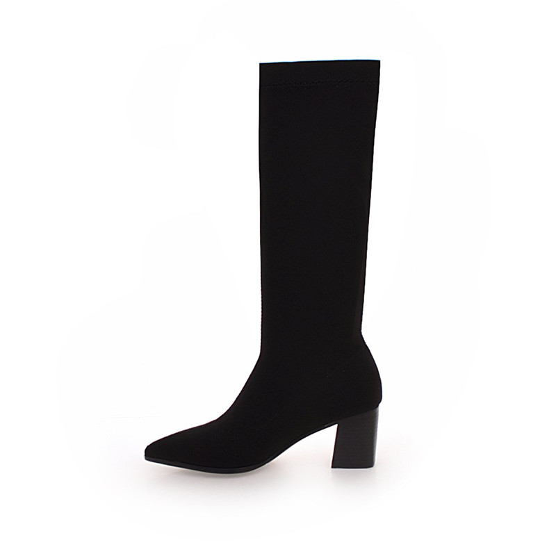 ENMAYER New Arrival Women Mid Calf Boots solid Pointed toe Square heel lady high heel boots Big size 34 43 Causal Black CR910 in Mid Calf Boots from Shoes