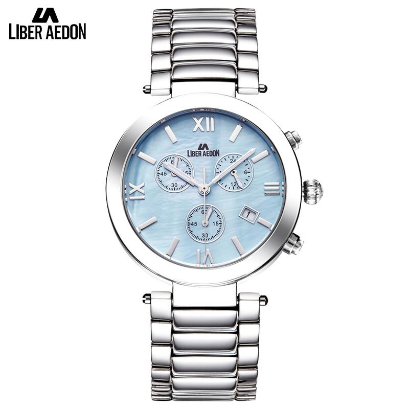 Liber Aedon Fashion Dress Women Watch Silver Stainless Steel Brand Luxury Quartz Waterproof Relogio Woman Ladies Gift Wristwatch