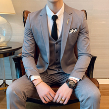 (Jacket+Pants+Vest) 3 Pieces Mens Blazer Suits Wedding Slim Fit Business Office Party Groomsman Suit Pants Vest Sets