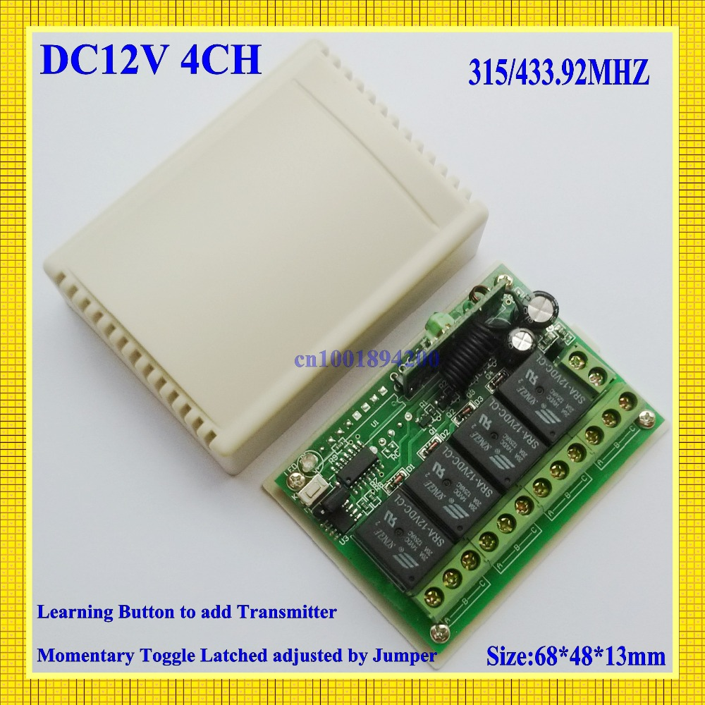 DC 12V 4 CH 10A Relay Receiver RF RC Remote Switch 315/433 Learning Code Momentary Toggle Latched adjustable ASK for Smart Home