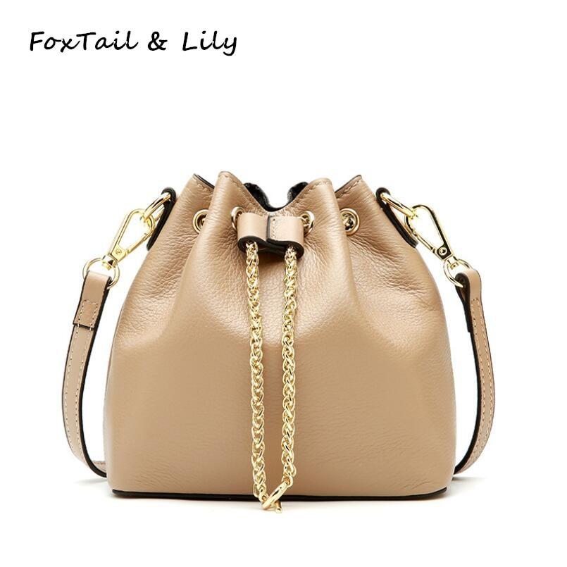 FoxTail & Lily Bucket Handbags Soft Genuine Leather Women Mini Crossbody Bag Luxury Designer Small Tote Shoulder Messenger Bags недорго, оригинальная цена
