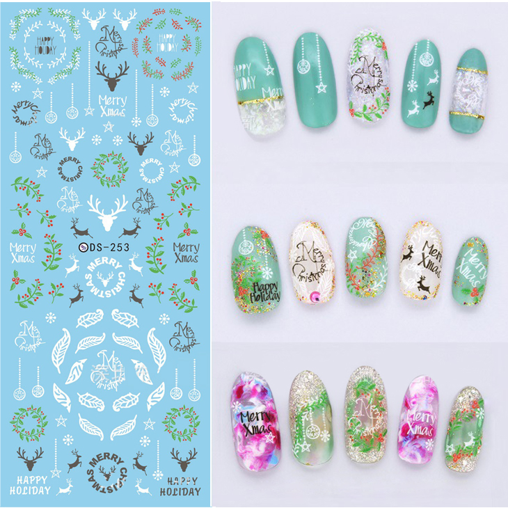NEW DS253 White Xmas Reindeer Mistletoe Water Transfer Nails Art Sticker Decal Winter Feather Christmas Styles Nail Wraps Tips meet me under the mistletoe christmas tee