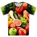 Plus Size XS-6XL 2016 Verão de Moda de Nova Fresco Frutas Flores camiseta impressão Mulheres/Homens de Impressão de Manga Curta t shirts Tops Tees