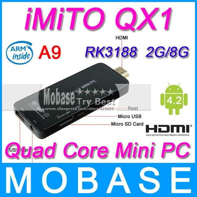 iMiTO QX1 Mini PC Google Android 4.2 RK3188 Quad Core 1.6GHz TV Box 2G/8G Bluetooth WiFi 1080P HDMI for Television Set Black