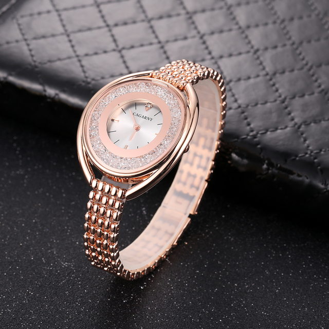 Cagarny Rose Gold Watch Women Watches Ladies Creative Steel Women's Bracelet Watches Female Clock Relogio Feminino Crystal Dial