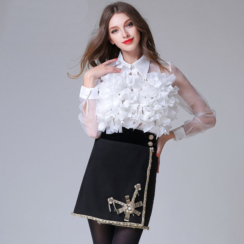 Buy sexy flower petal appliques designer for Nice shirts for womens
