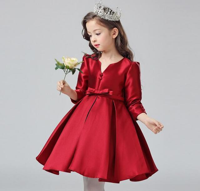 57e5a862f5 Vestidos de fiesta de graduación para niños otoño arco grande niños vestidos  formales para niñas boda