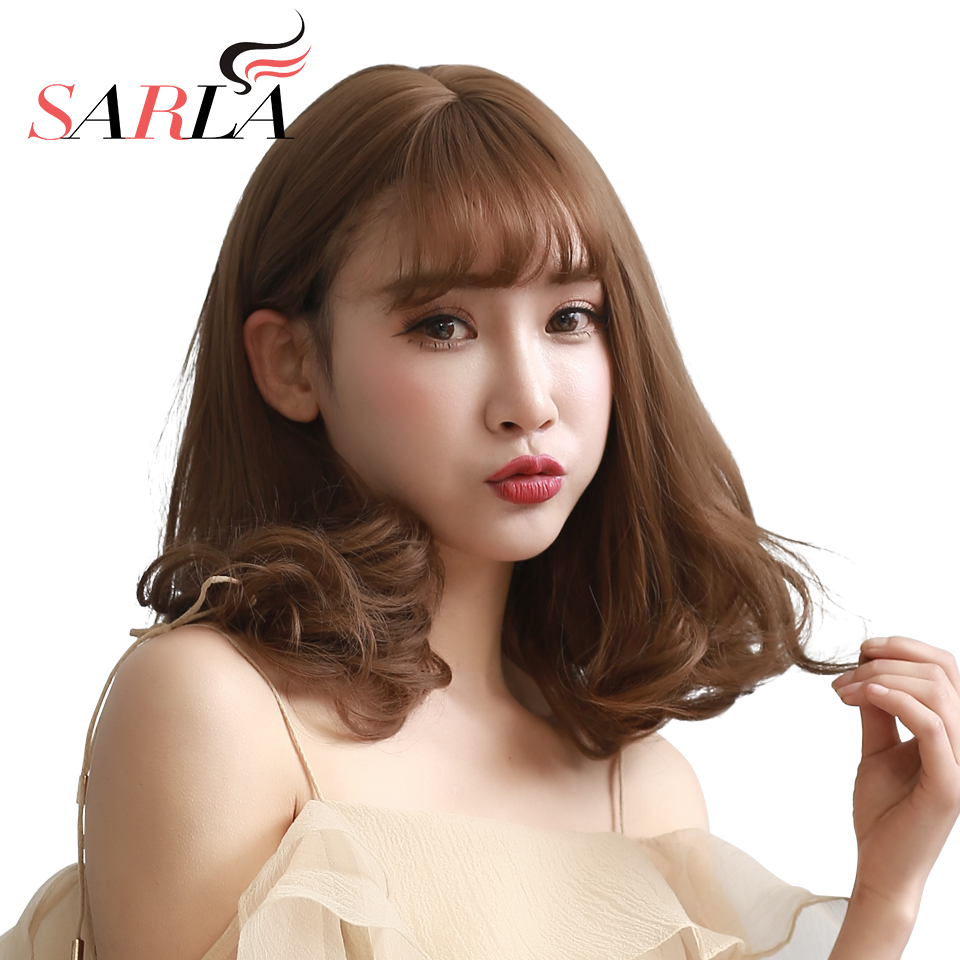 SARLA Synthetic Curly Medium Wig Toupee For Women Resist High Temperature Fiber Hairpieces For Bald Hair