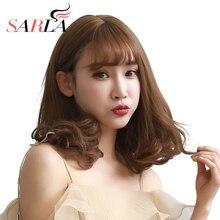 Сарла синтетического вьющихся Средний парик для Для женщин выдерживать высокие Температура Волокно шиньоны для лысый волос Синтетические чёлки волос