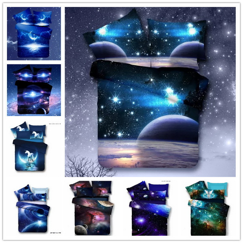 3d bedding sets twin queen size universe outer space for Outer space bedding