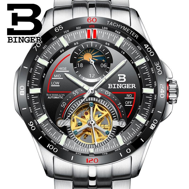 Di lusso Svizzera BINGER Uomini di sport esterno multi-funzionale zaffiro acciaio pieno orologio da polso impermeabile Calendario maschile serie di Corse