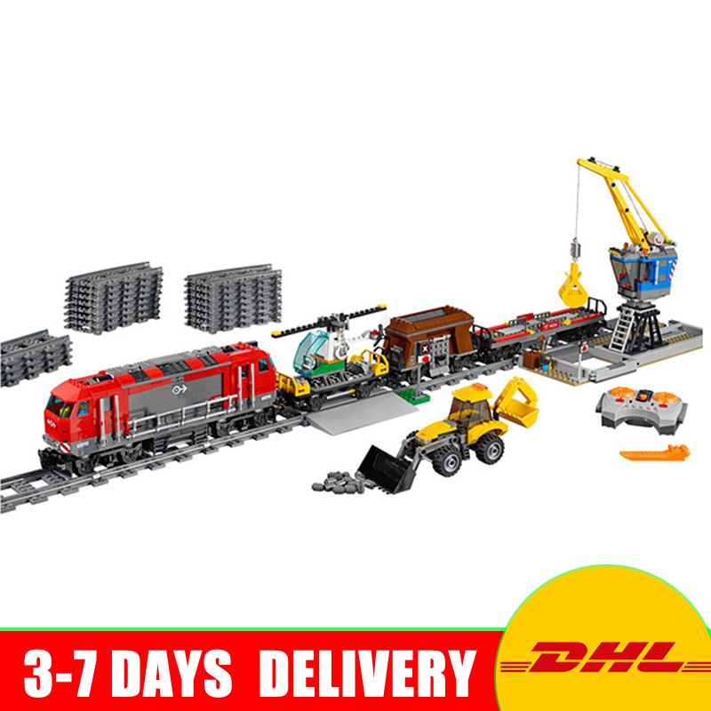 In Stock DHL Lepin 02009 City Engineering Remote Control RC Train Building Blocks Bricks Toys Model Gifts Clone 60098 dhl more stock 2705pcs lepin 15013 city street carousel model building blocks bricks intelligence toys compatible with 10196