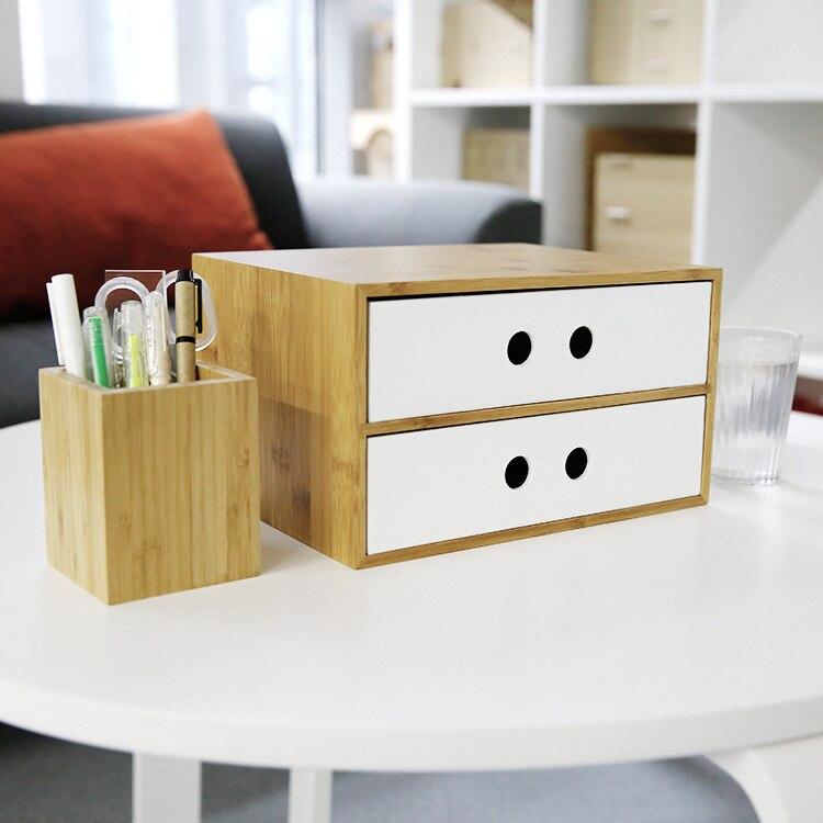 Bambou tiroir bureau bureau fichier boîte de rangement multi-usage cosmétique/articles divers boîte de rangement bijoux boîte Table décor Double couleur