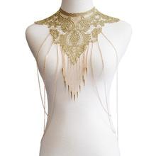Women Sexy Flower Lace & Alloy Multi-layer Tassel Body Chain Bohemian Retro Style Gold Beautiful Chain Jewelry Body Chain Bikini