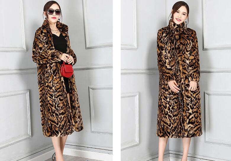 Manteau 6xl Sexy De Vison Imitation Femme Longues Léopard Américain Lâche Manches Haute Longue 1 Européen Automne Fourrure Et Qualité Tpvdq