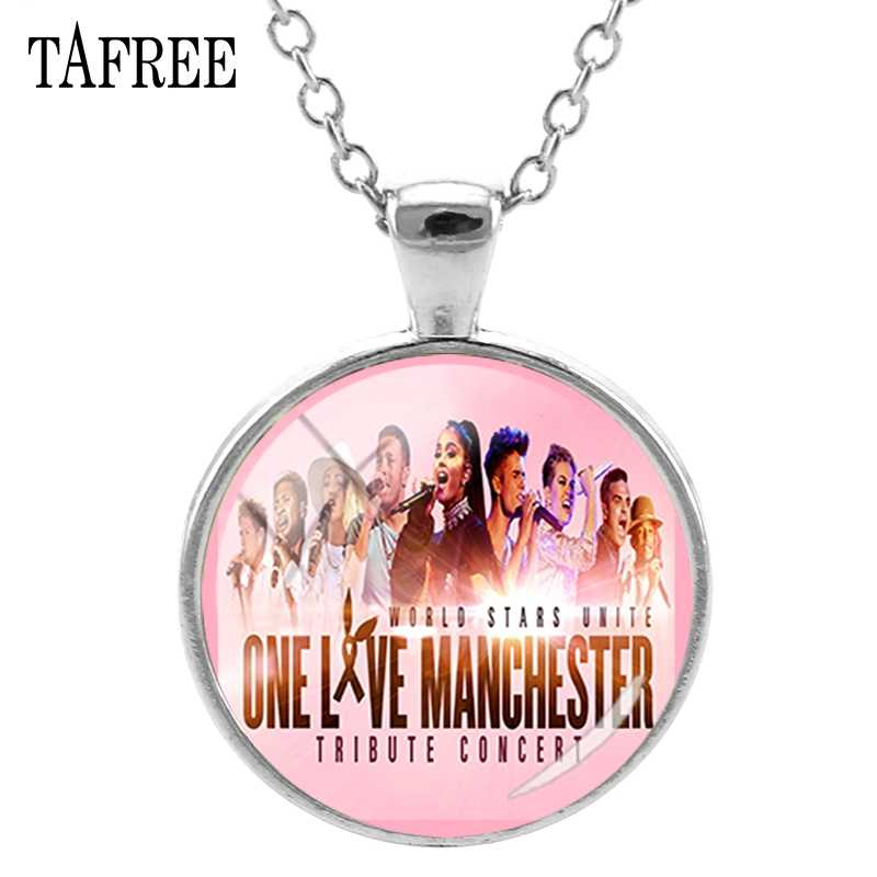 TAFREE Ariana Grande Liontin Kalung Untuk Wanita Satu Cinta Manchester Bulat Kalung Wanita Kalung Perhiasan QF689