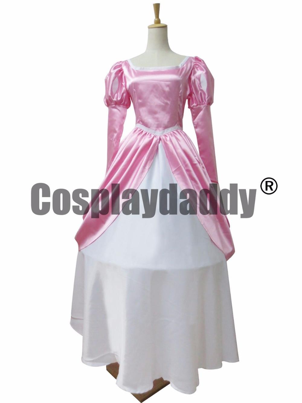 The Little Mermaid princess Ariel Pink Dress Cosplay Costume anysize F008