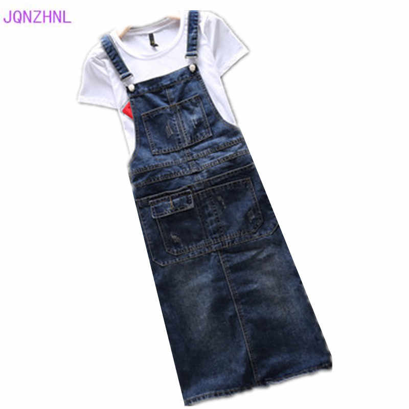 Summer Women Denim Dress Casual Spring Dress Loose strap Dresses Woman Solid Adjustable jeans strap Dress Plus size 5XL G1030