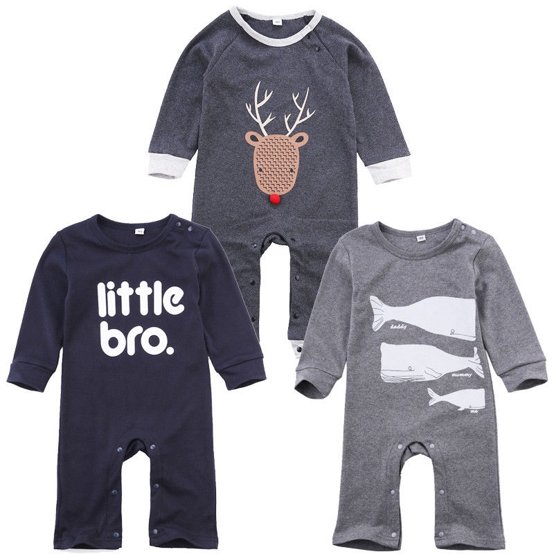 0-18M Newborn Baby Boys Clothes Infant Toddler Kids Little Bro Long Sleeve Cotton Romper puseky 2017 infant romper baby boys girls jumpsuit newborn bebe clothing hooded toddler baby clothes cute panda romper costumes