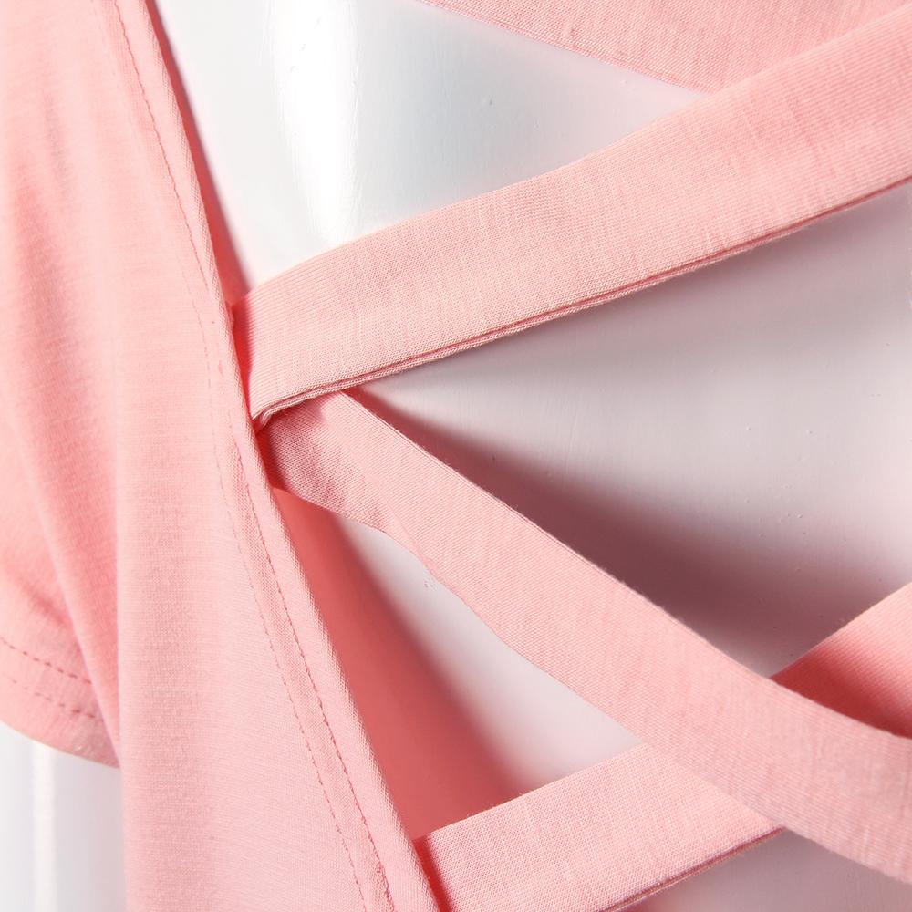 Women's Sexy Backless Hollow Bandage Punk Tee Shirt, Woman's Short Sleeve Summer T-Shirt 4