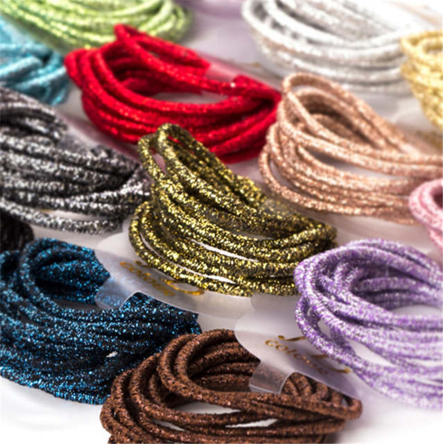 placeholder 100 Pcs lot 2mm Toddlers  Glitter Small Elastic Hair ties  Girls  Candy Color 312c21b2ec8