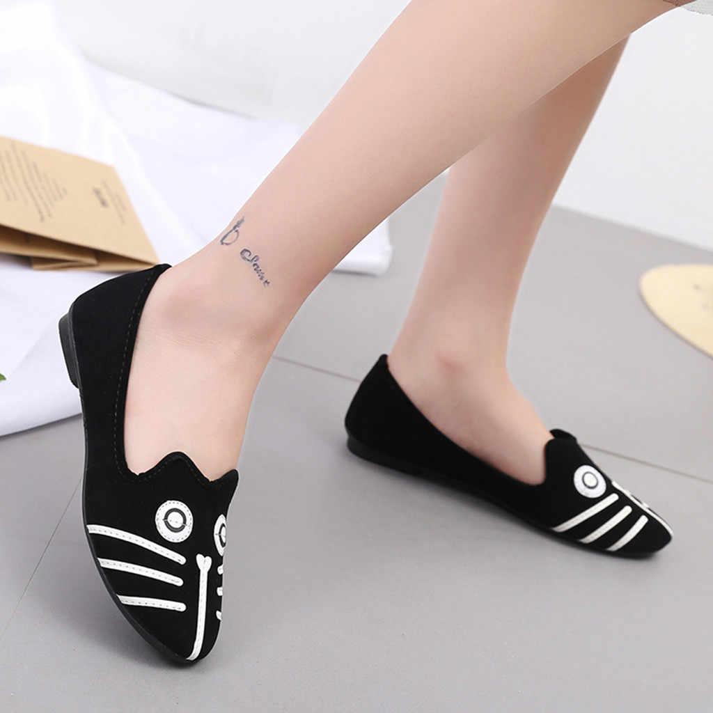 YOUYEDIAN femmes chaussures plates femmes bout rond talon plat dessin animé Animal dames chaussure mocassins décontractés Doug chaussures simples sapatos