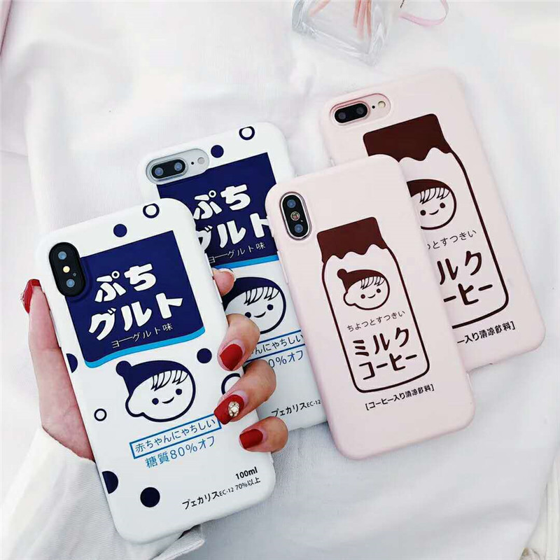 Cartoon Candy color blue Pink Drinks Case For iPhone 6 6S 7 8 Plus X 6 7 8 Cute Milk boy Box Phone Soft Silicon Back Cover Cases