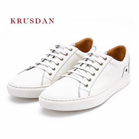 KRUSDAN Business Casual Men Shoes Summer Genuine Leather Lace Up Sneakers Vulcanize Wedding Party Shoes Men's Breathable Flats