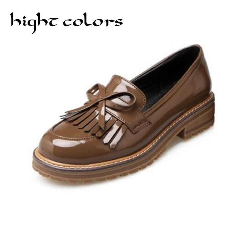 2017 Spring Platform Women Oxfords With Bowtie Patent Leather Brogue Shoes Woman Pointed Toe Slip On Ladies Flats Size 40~43 qmn women metallic paneled brushed leather brogue shoes women square toe oxfords casual shoes woman leather platform flats