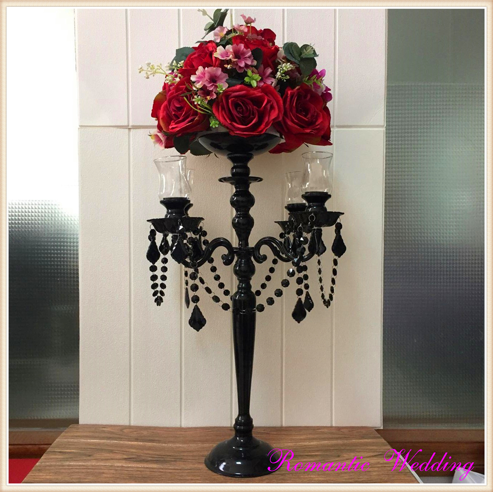 Gorgeous Black Candelbras Wedding Party Event Metal Glass 5 Arms Candel holders for Church -24.8'' high
