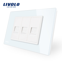 US AU Standard Livolo Luxur Telephone 2gang Computer Socket With White Pearl Crystal Glass VL C9