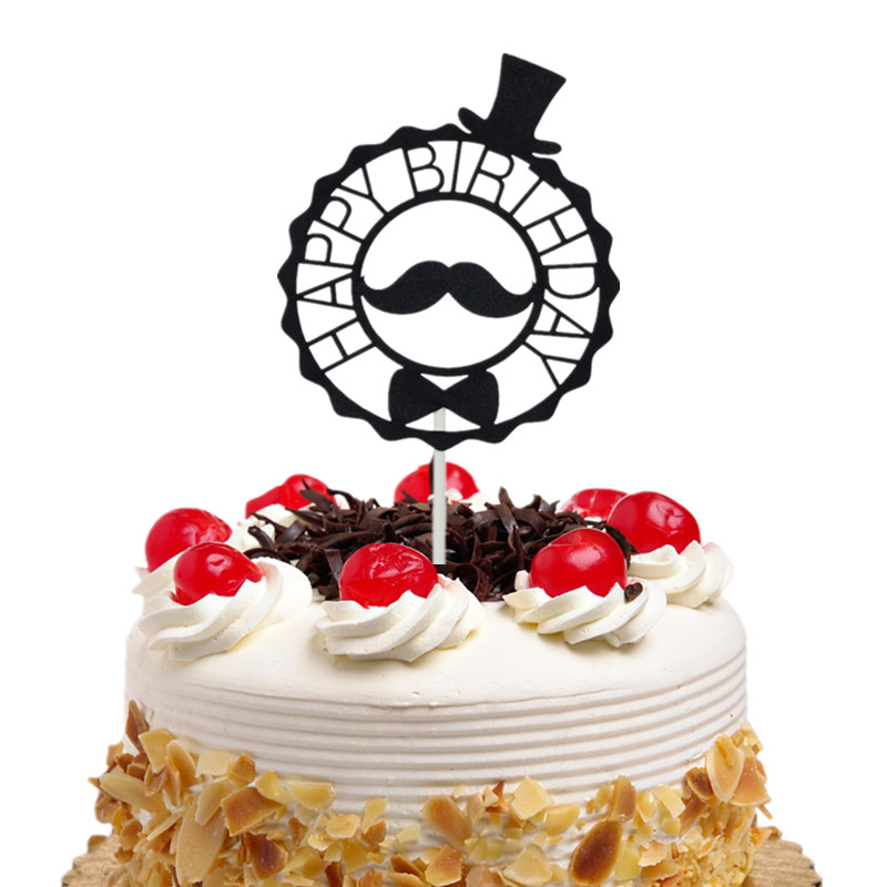 Cake Flags Happy Birthday With Moustache Hat Cupcake Topper Toppers Wedding Bridal Wrapper Party Baking Kids DIY Xmas