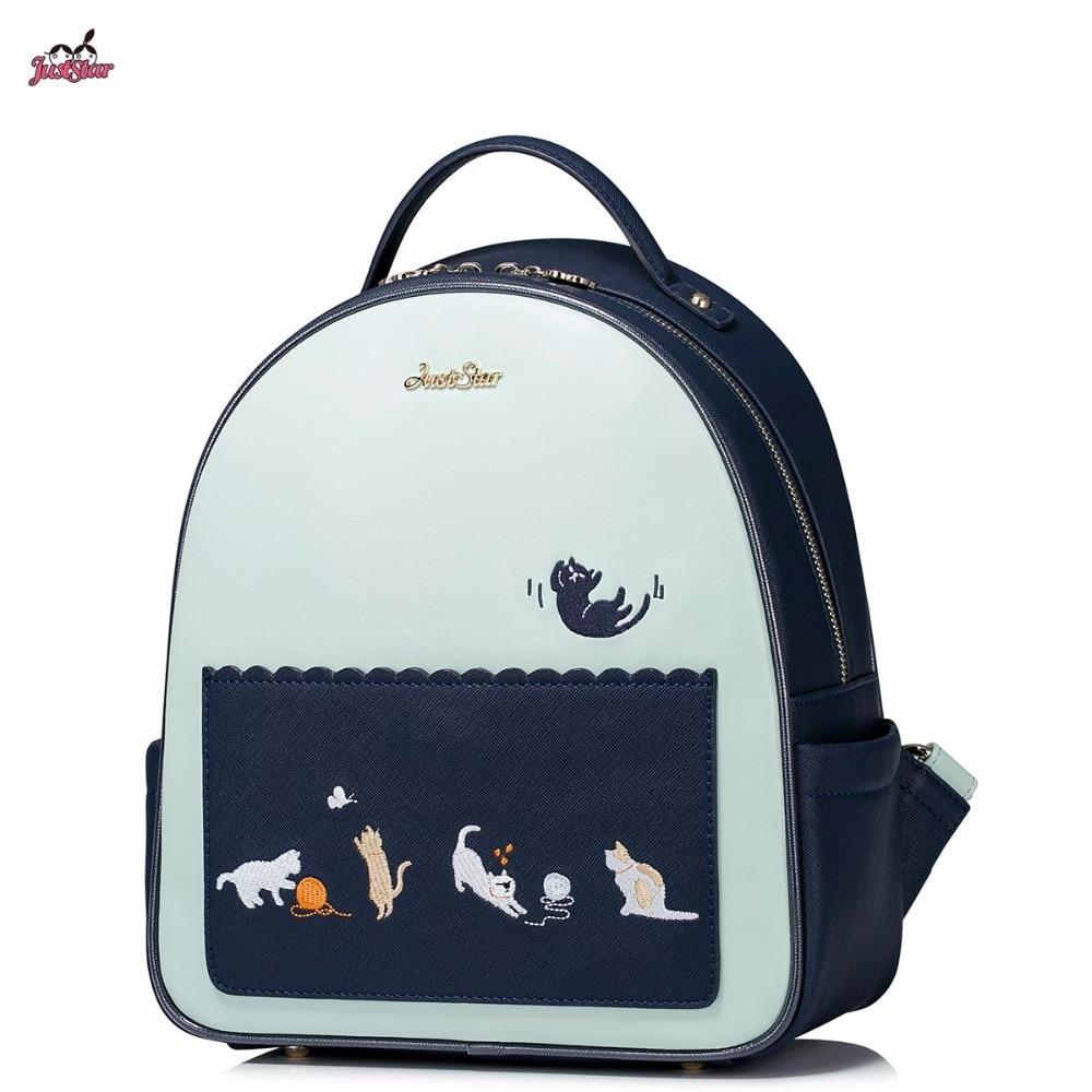 ФОТО 2017 New Just Star Brand Design Fashion Cats Embroidery Tassels  PU Women Leather Girls Ladies Backpack Travel School Bag